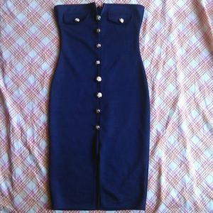 Blue Sailor Strapless Bodycon Tube Dress